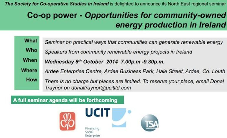 Seminar – Community Energy Production – Date for Your Diary